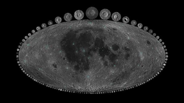 Los cráteres de impacto de la Luna revelan que el número de colisiones de asteroides se incrementó de forma dramática durante los últimos 300 millones de años. En la imagen, todos los cráteres de impacto de la Luna mayores de 10 km durante los últimos mil millones de años