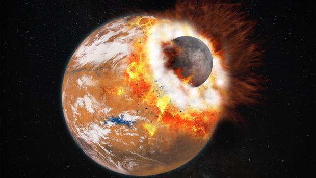 Recreación del impacto de un planeta del tamaño de Marte contra la Tierra