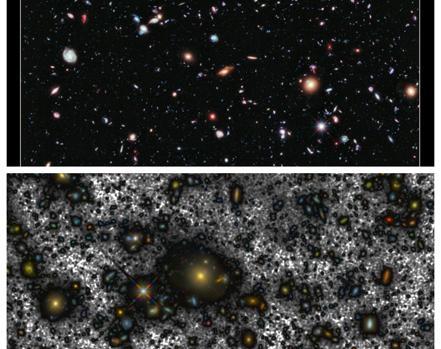 Arriba, la imagen HUDF y abajo la generada por los investigadores canarios