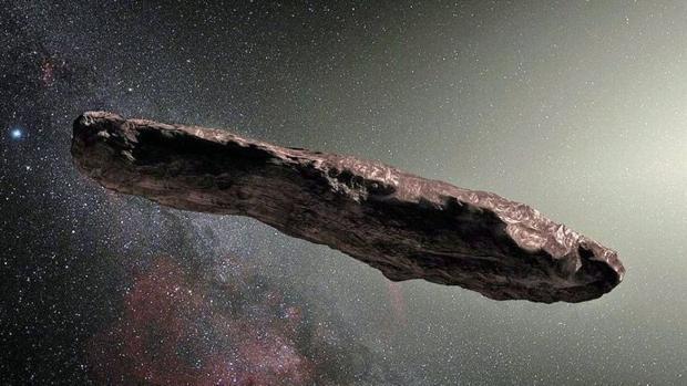 Representación del Oumuamua, el primer viajero interestelar captado en el Sistema Solar