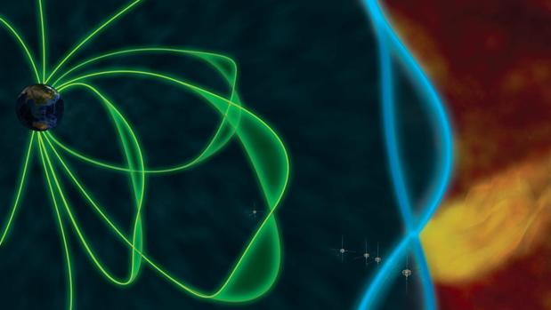 Representación del impacto del viento solar (en amarillo) en la magnetopausa (azul) y la magnetosfera (verde). Los satélites THEMIS, en la imagen, captaron las oscilaciones en la magnetosfera