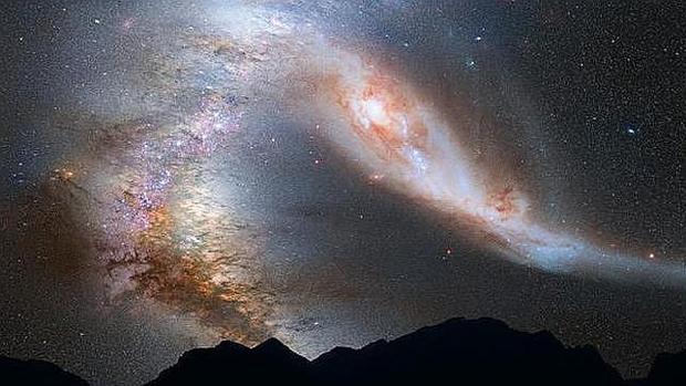 Recreación del choque de Andrómeda contra nuestra galaxia, según se creía hasta ahora