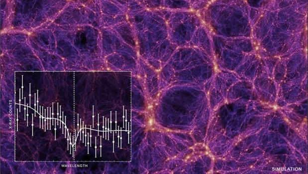 La imagen de ordenador muestra los numerosos filamentos de gas caliente que llenan el espacio intergaláctico. ¿Estará ahí la materia que falta en el Universo?