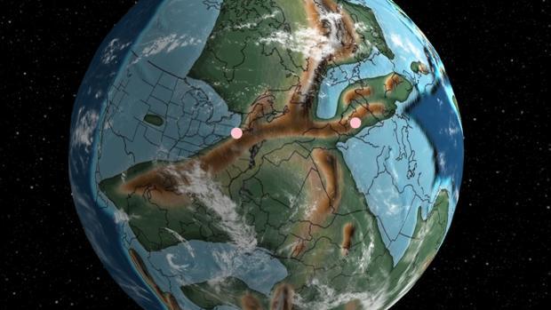 Imagen de la Tierra que marca Madrid y Nueva York hace 340 millones de años