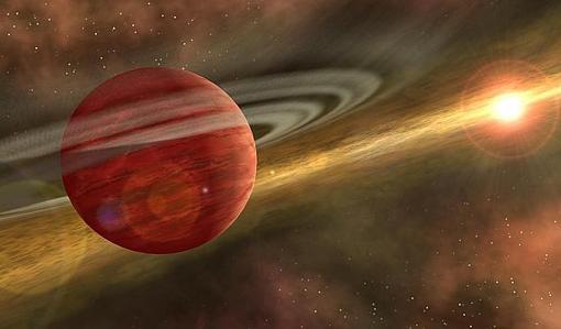 Recreación artística de un planeta joven como HD 106906 b en una órbita distante alrededor de su estrella anfitriona