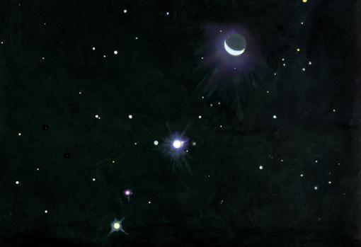 Pintura de Paul Olsen, mostrando los dos planetas que más influyen en la órbita de la Tierra. De abajo a arriba, Júpiter, Marte y la Luna