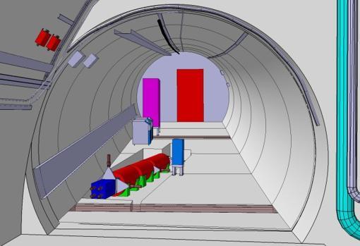 Imagen esquemática del detector FASER planeado como se verá en el túnel de la TI12