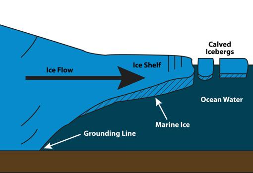 El agua de mar a veces se congela en la parte inferior de las plataformas de hielo, creando una capa de lo que se llama hielo marino que viaja en la parte inferior de algunos icebergs. Los icebergs verdes podrían estar compuestos enteramente de hielo marino