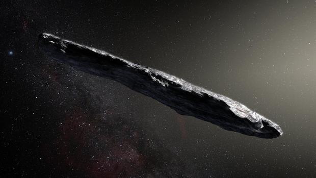 Recreación artística de Oumuamua mientras se paseaba por el Sistema solar tras su descubrimiento en octubre de 2017