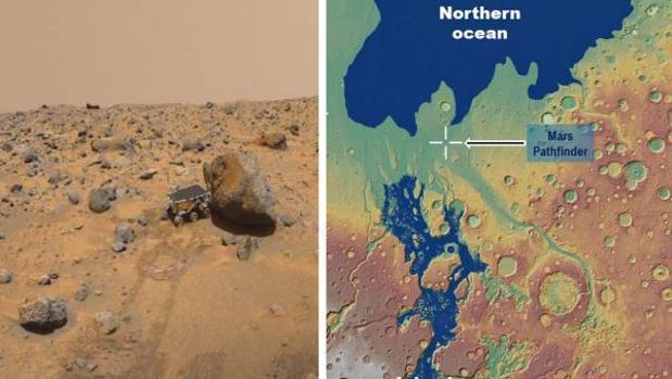 Izquierda: vista del rover Sojourner desde el módulo de aterrizaje Pathfinder. Una gran proporción de las rocas podrían haber sido erosionadas por inundaciones de desbordamiento. Derecha: reconstrucción del mar interior hace 3.400 millones de años