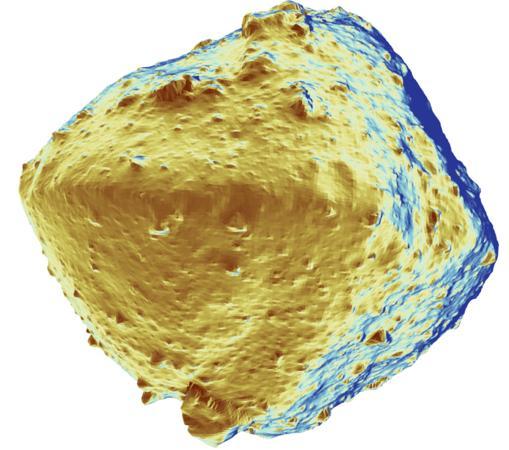 Mapa de la composición de la superficie de Ryugu. El objeto sorprende por lo seco que está