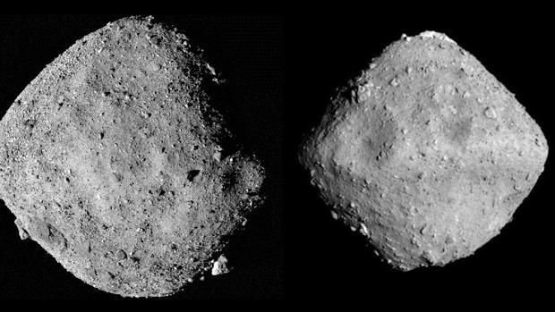 Los asteroides Bennu (izquierda) y Ryugu (derecha). No están a escala: el primero mide unos 262 metros y el segundo unos 900