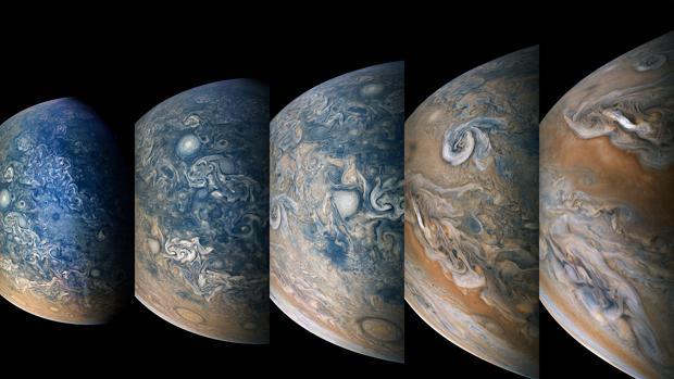 Imágenes tomadas por la misión Juno del ecuador a los polos (en color azul), donde se forman impresionantes tormentas