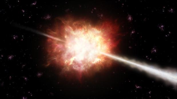 Los estallidos de rayos gamma (GRBs), en la imagen, son potentes explosiones de rayos gamma que duran segundos o minutos, y que se producen en galaxias lejanas