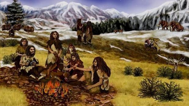 Recreación de un grupo neandertal en una imagen de archivo