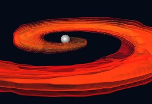 Simulación de la destrucción de una estrella de neutrones en un agujero negro