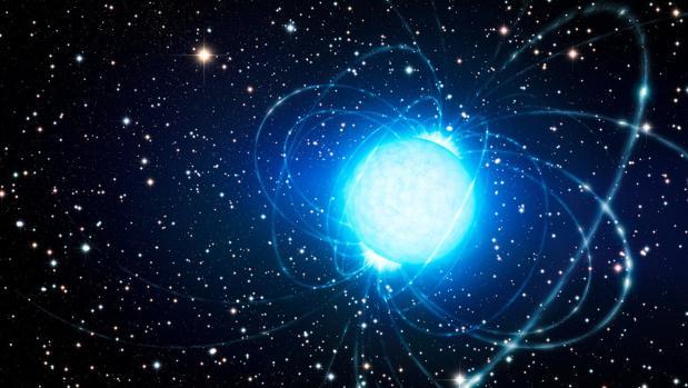 Ilustración de un magnetar, el cadáver de una antigua estrella muy masiva