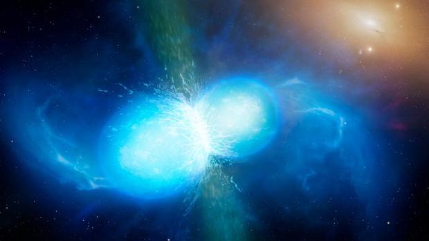 Recreación de la colisión de dos estrellas de neutrones