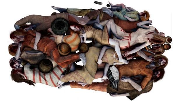 Representación de las víctimas, de acuerdo a lo descubierto por los análisis arqueológicos y genómicos. Madres, hijos y parejas fueron enterrados juntos