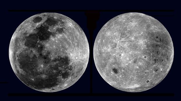 Imagen de las dos caras de la Luna: a la izquierda la visible desde la Tierra; a la derecha la que se oculta a nuestros ojos