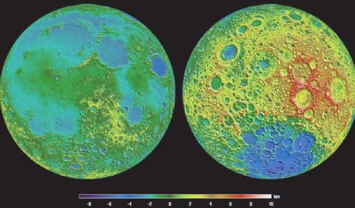 En el lado izquierdo, la cara visible de la Luna; en el derecho, la cara oculta