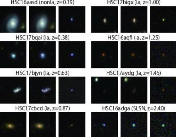 En la imagen, algunas de las supernovas descubiertas en este estudio. Hay tres imágenes por cada supernova, antes, durantew y después de cada explosión