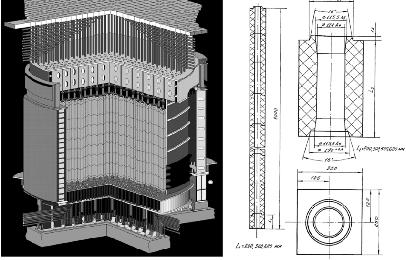 Aspecto del núcleo del reactor RBMK de la central nuclear de Ignalina