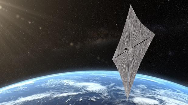 Representación de la LightSail 2. La presión de los fotones hará que gane altitud en su órbita alrededor de la Tierra