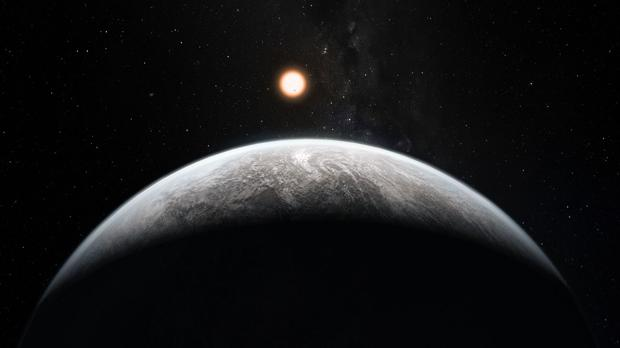 Recreation of an exoplanet, a world located around a star other than the Sun