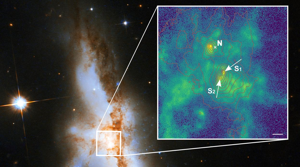 """Resultado de imagen de Descubren por primera vez tres agujeros negros supermasivos en el centro de una galaxia"""""""