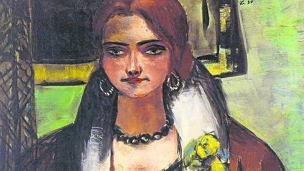 Detalle de «Retrato de Naila» (1934), de Max Beckmann (1884-1950)