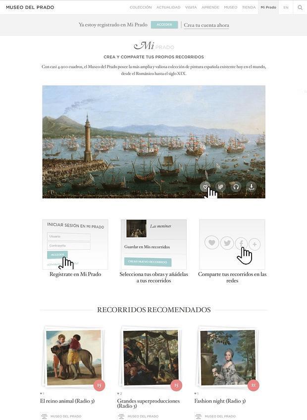 Captura de la nueva web del Prado