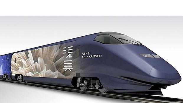 El exterior del tren ha sido diseñado por el artista Mika Ninagawa