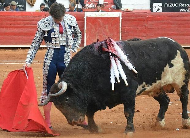 El Juli, en un torero y sentido muletazo