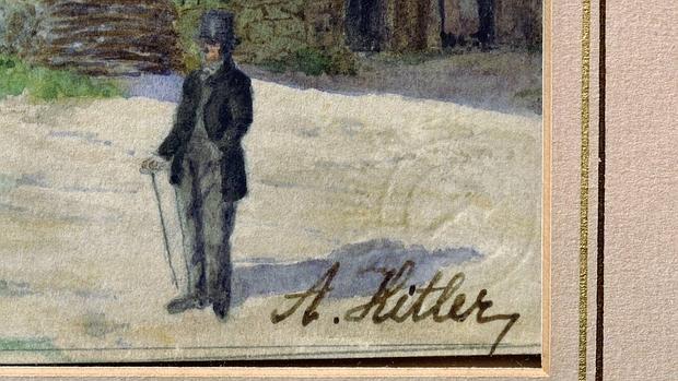La firma de Adolf Hitler se observa en esta acuarela titulada «Weissenkirchen in der Wachau» del año 1911