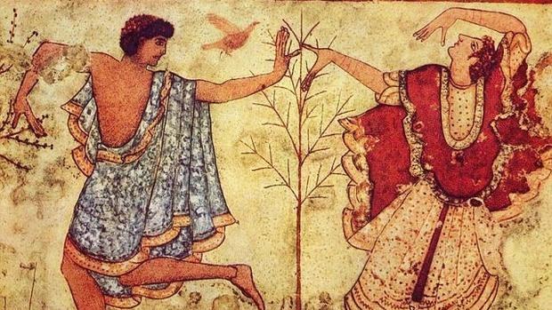 Ejemplo de tejido púrpura en un fresco etusco del 479 a C.