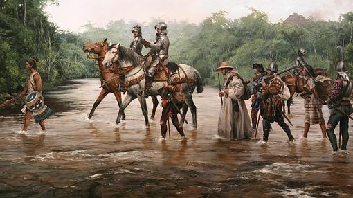 «Camino a Tenichtitlan», un cuadro de Augusto Ferrer-Dalmau que da una visión fidedigna de cómo fueron los primeros conquistadores