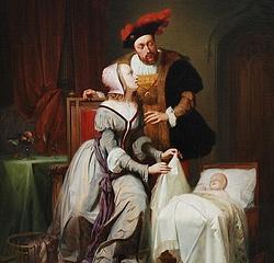 «Johanna Maria van der Gheynst con el emperador Carlos V y su hija Margarita de Parma», obra de Théodore-Joseph Canneel