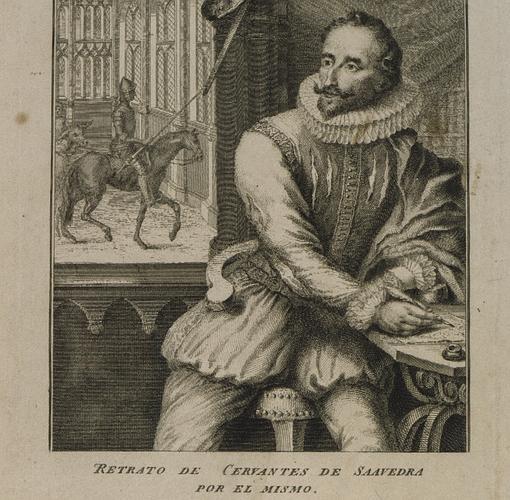 Grabado de un retrato según los datos aportados por Cervantes en sus «Novelas ejemplares»