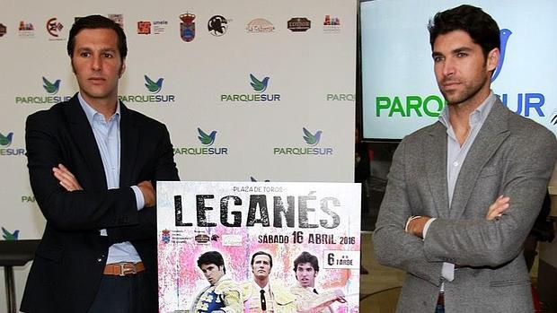 David Mora y Cayetano Rivera, durante la presentación del cartel en Leganés