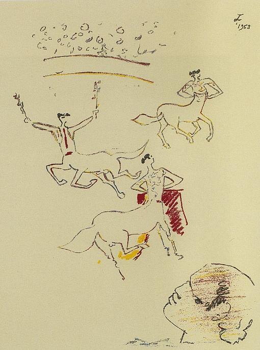 Litografía de «Banderilleros», de Jean Cocteau