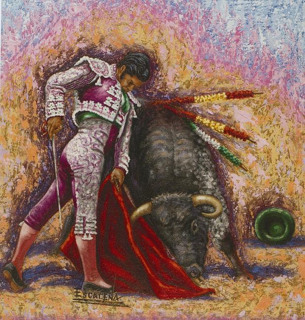 Cartel anunciador del abono taurino de Sevilla, obra de Escacena, con Morante de protagonista