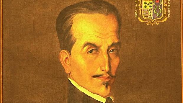 Detalle de un retrato del Inca Garcilaso de la Vega, pintado por Francisco González Gamarra