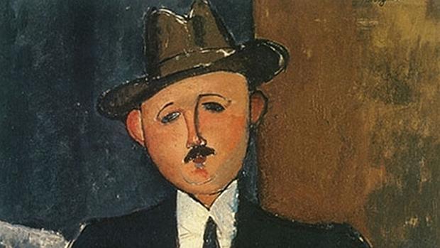 Detalle del cuadro desaparecido de Modigliani «Hombre sentado con un bastón»