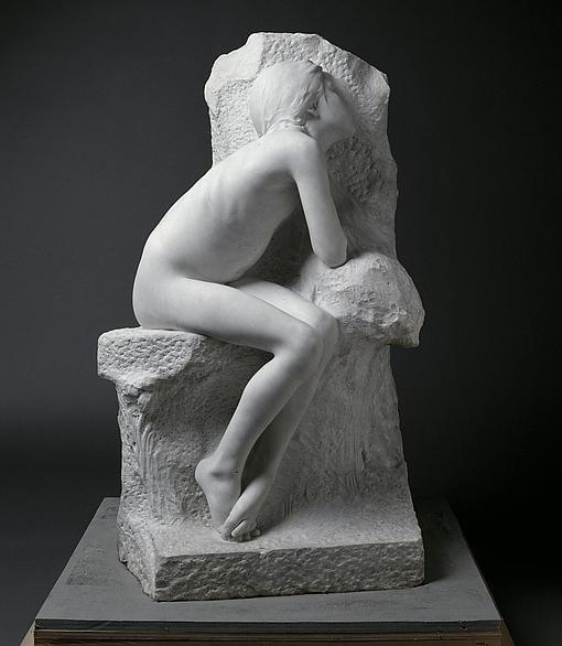 «Niña dormida» (fragmento de «Los primeros fríos»), 1892, de Miguel Blay.