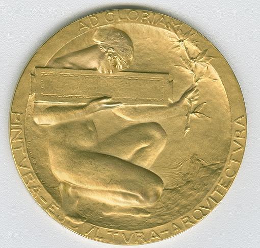 Reverso de la medalla creada por Miguel Blay para la Exposición Nacional de Bellas Artes de 1915. El anverso es obra de Mariano Benlliure