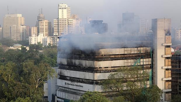 Bomberos trabajan en la extinción de un incendio en el Museo de Historia Natural en Nueva Delhi (India)