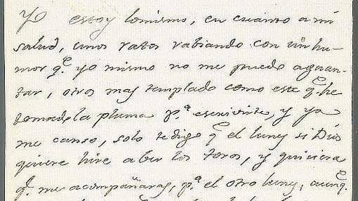 Carta de Goya a su amigo Martín Zapater don de se demuestra su afición a los toros