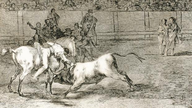 """La Tauromaquia de Goya: lámina 23, titulada «Mariano Ceballos, alias """"el Indio"""", mata al toro desde su caballo»"""