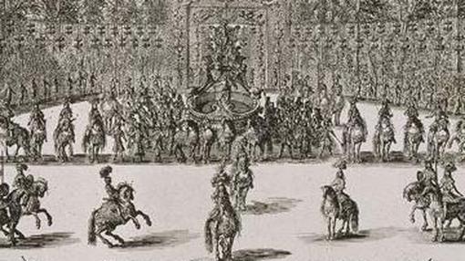 Grabado de la primera jornada de la fiesta, los nobles juegan en los jardines